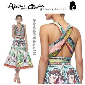 "Alice & Olivia ""Chia"" lady Lola Crop Top Blouse 6"